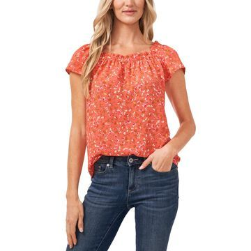 CeCe Floral Ruffled Square Neck Blouse