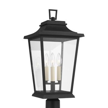 Feiss Warren 10.625 in. W 3-Light Textured Black Outdoor Post Light with Clear Glass | OL15407TXB