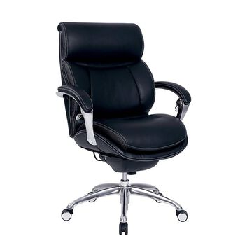 Serta iComfort i5000 Bonded Leather Managerial Mid-Back Chair, Onyx Black/Silver