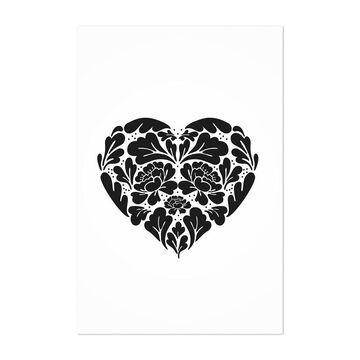 Noir Gallery Digital Floral Botanical Heart Unframed Art Print/Poster