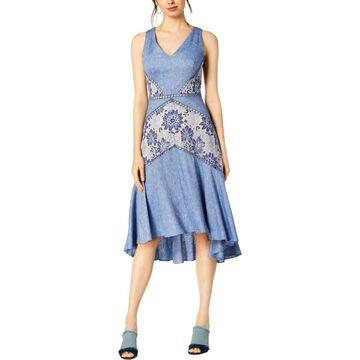 Taylor Womens Chambray Lace Inset Midi Dress