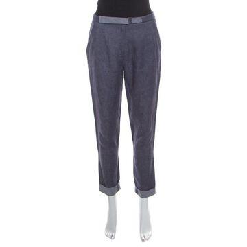 Loro Piana Indigo Chambray Linen Pleat Front Tapered Pants S