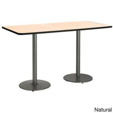 KFI 30in x 72in Bistro Height Pedestal Table with Round Silver Base (Natural)