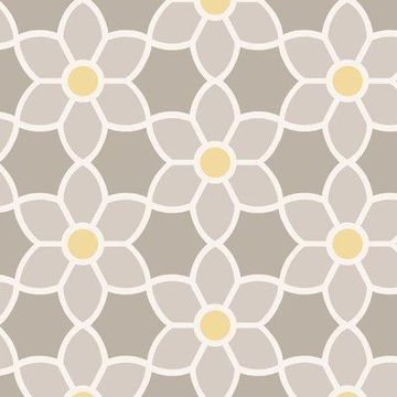 Beacon House Blossom Grey Geometric Floral Wallpaper