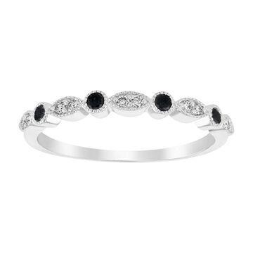 10K White Gold 1/5 carat TDW Black and White Diamond Vintage Inspired Band Ring By Beverly Hills Charm - White H-I (8.5)