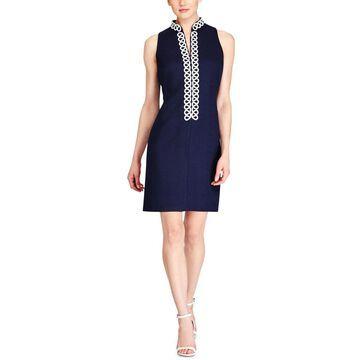 American Living Womens Jacquard Embroidered Sheath Dress