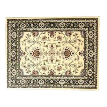Linon Persian Treasures Isfahan Floral Polypropylene Rectangular Area Rug (9' x 12' - Cream/Black)