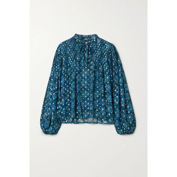 Sea - Positano Pintucked Floral-print Fil Coupe Georgette Blouse - Blue