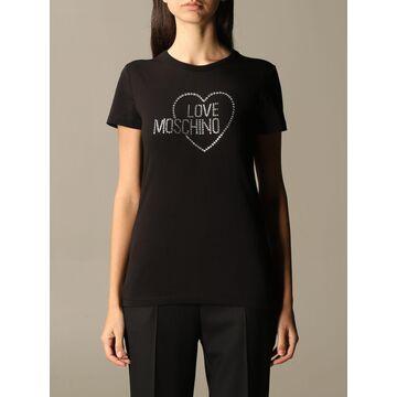 Love Moschino T-shirt Love Moschino T-shirt With Logo And Rhinestone Heart
