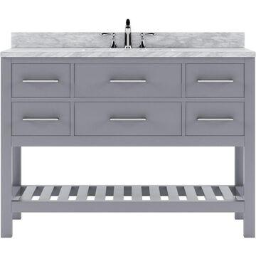 Virtu USA Caroline Estate 48-in Gray Undermount Single Sink Bathroom Vanity with Italian Carrara White Marble Top
