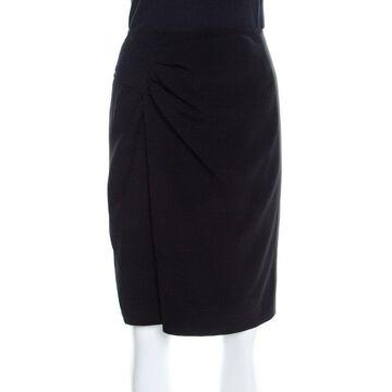 Elie Tahari Black Crepe Draped Front Skirt S