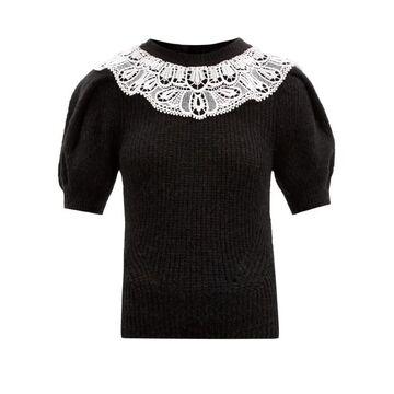 Self-portrait - Puffed-sleeve Crochet-yoke Sweater - Womens - Black
