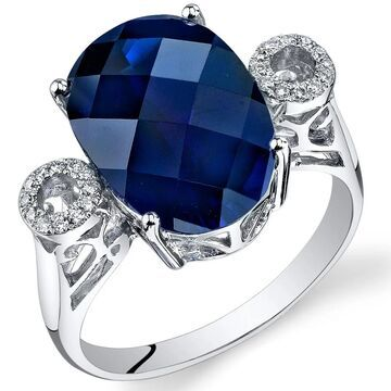 Oravo 14k White Gold Oval Blue Sapphire and Diamond Ring 8.6 carats Size - 7