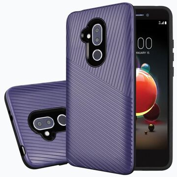 Alcatel 7 Case, by Insten Embossed Lines Hard Snap-in Case Cover For Alcatel 7, Dark Purple