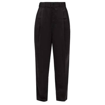 Lemaire - Pleated Satin Trousers - Womens - Black