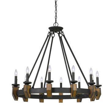 Cruz Metal/Wood Chandelier Bronze 4