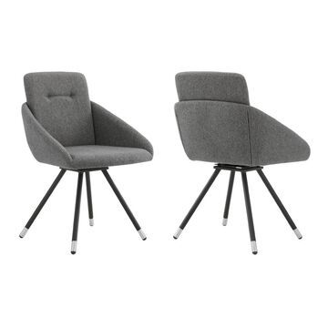 Set of 2 Granada Swivel Fabric Dining Chairs Gray - Armen Living
