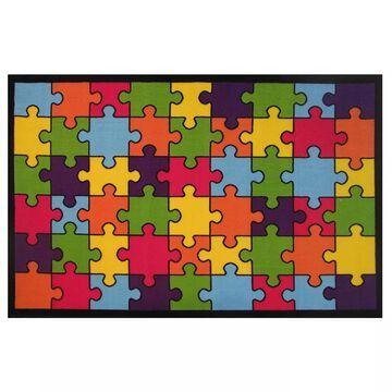Fun Rugs Fun Time Jigsaw Puzzle Rug, Multicolor, 4X6.5 Ft