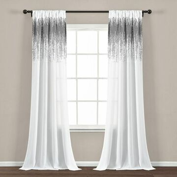 Lush Decor 2-pack Shimmer Sequins Window Curtain Set, White, 42X84