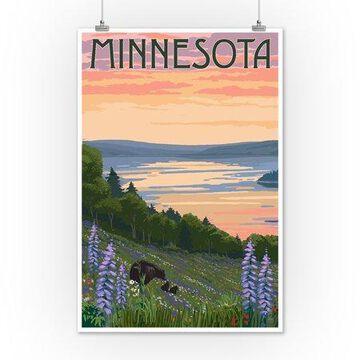 Minnesota - Lake & Bear Family - Lantern Press Artwork (12x18 Art Print, Wall Decor Travel Poster)