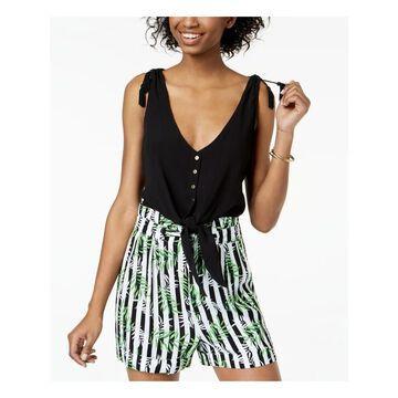 XOXO Womens Black Tassel Shoulder Tie Hem Sleeveless Scoop Neck Top Juniors Size: S