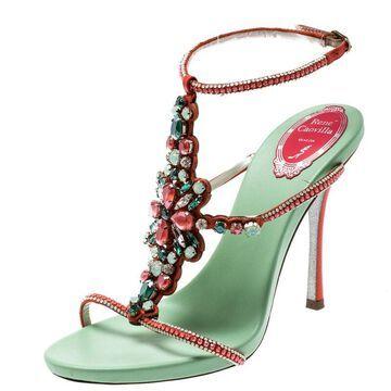Rene Caovilla Orange Satin And Suede Crystal Embellished Ankle Strap Sandals Size 38