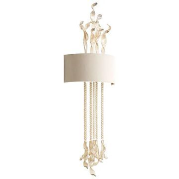 Cyan Design Islet Wall Sconce Islet 2 Light Wall Sconce with White Shade Cognac Indoor Lighting Wall Sconces