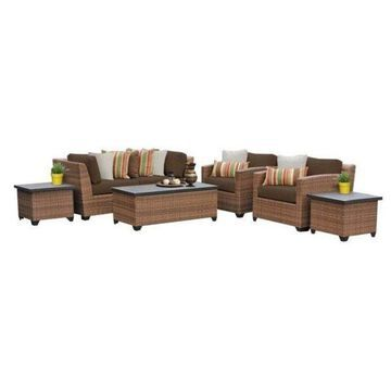 TK Classics Laguna 7-Piece Outdoor Wicker Sofa Set, Cocoa