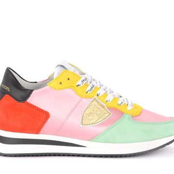 Philippe Model Tropez X Sneaker In Pink Fabric And Multicolored Suede