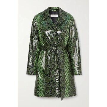 Dries Van Noten - Snake-print Coated Cotton-blend Trench Coat - Green