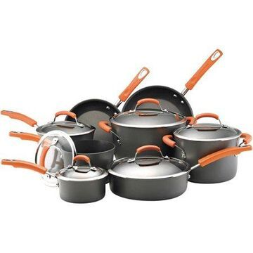 Rachael Ray 14 Pieces Hard-Anodized Nonstick Pots and Pans Set/Cookware Set, Gray with Orange Handles