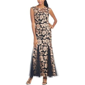 Alex Evenings Womens Evening Dress Mesh Applique