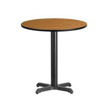 Flash Furniture Natural Round Dining Table, Wood Veneer with Black Metal Base in Brown