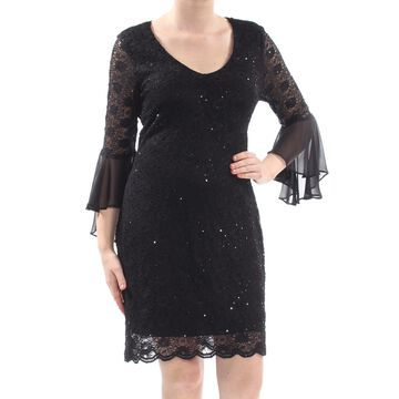 CONNECTED APPAREL Womens Black Lace Scallop Trim Floral Bell Sleeve Scoop Neck Above The Knee Sheath Party Dress Size: 10