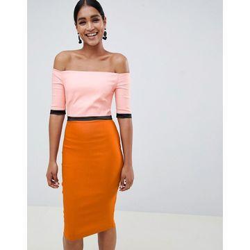 Vesper color block bardot pencil dress