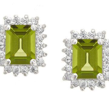 Premier Emerald Cut 1.60cttw Peridot Earrings,14K