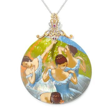 Michael Valitutti Palladium Silver Hand-Painted Mother-of-Pearl Shell & Ruby Dancer Pendant