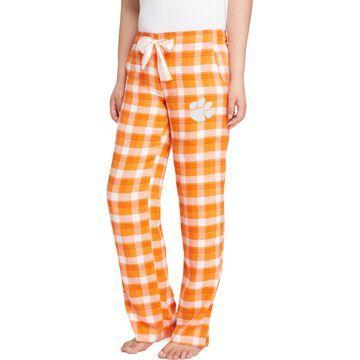 Concepts Sport Women's Clemson Tigers Orange/White Piedmont Flannel Sleep Pants