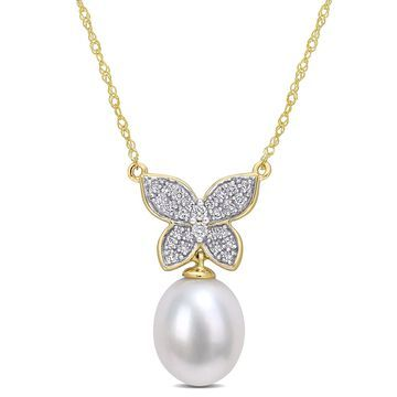 9-10mm Freshwater Cultured Pearl and 1/8 Carat T.G.W. Diamond 10kt Yellow Gold Butterfly Necklace