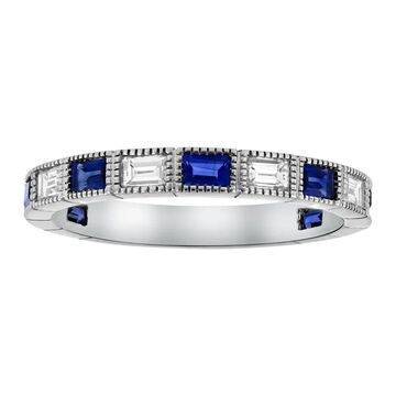 14Kt White Gold 1 1/5 ct. Blue Sapphires and Diamonds Band Ring by Beverly Hills Charm (7)