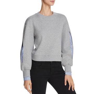 Derek Lam 10 Crosby Womens Cropped Layered Sweatshirt