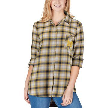 Concepts Sport Michigan Wolverines Women's Navy/Gold Forge Rayon Flannel Long Sleeve Button-Up Shirt