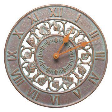 Ivy Silhouette Indoor Outdoor Wall Clock, Copper Verdigris, 12