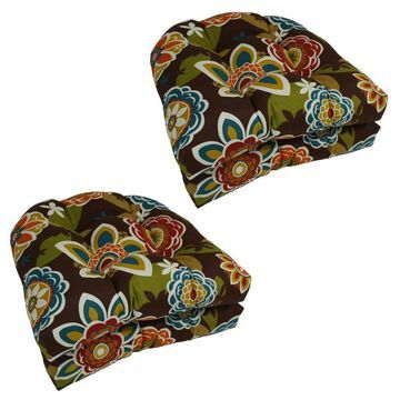 Blazing Needles Solarium 4-Piece Annie Chocolate Patio Chair Cushion Polyester