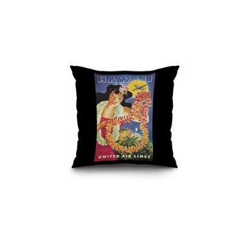 United Airlines - Hawaii Vintage Poster (artist: Feher) USA c. 1950 (16x16 Spun Polyester Pillow, Black Border)
