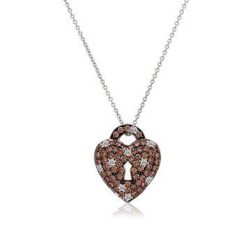 Le Vian Chocolatier Diamond & 14K White Gold Heart Lock Pendant Necklace