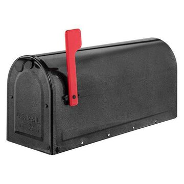Architectural Mailboxes MB1 Pewter Post Mount Mailbox With Red Flag