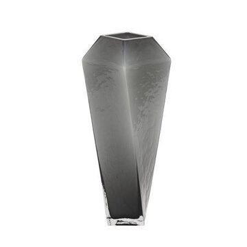 Decmode Contemporary 18 inch geometric cut black glass vase, Black
