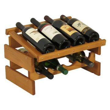 Wooden Mallet Dakota 2 Tier 8 Bottle Display Wine Rack in Medium Oak