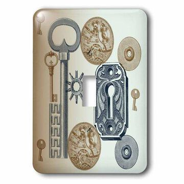 3dRose Steampunk Abstract, Double Toggle Switch